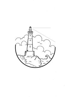 The Lighthouse I absolutely love the various lighthouse designs you'll find around the world. In a way, they are kind of majestic to me. They shine a bright light through the fog, helping wayward sailors find their way home. Unframed, hand drawn pen and i Mini Drawings, Cute Easy Drawings, Pencil Art Drawings, Art Drawings Sketches, Doodle Drawings, Tattoo Drawings, Tattoo Sketches, Lighthouse Drawing, Lighthouse Art