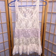 Daytrip Floral Lace Top Daytrip Floral Lace Off White Tank Top in size Medium. Very pretty! Buckle Tops Tank Tops