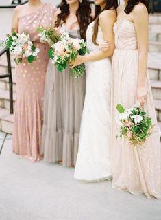 Blush, silver & gold bridesmaid dresses | Metallic & Blush Wedding Inspiration Board | SouthBound Bride www.southboundbride.com/inspiration-board-metallic-blush  Credit: Jessica Lorren