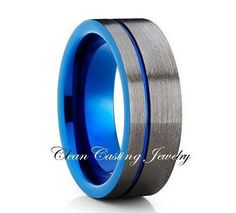 Blue Offset Groove Gunmetal Tungsten Ring Comfort Fit