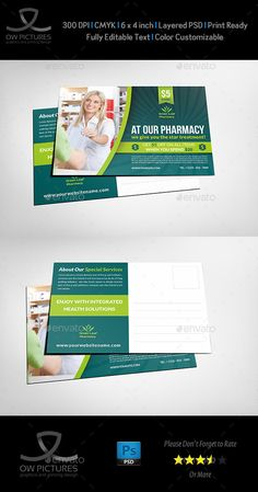 Buy Pharmacy Postcard Template by OWPictures on GraphicRiver. Postcard Description: Pharmacy Postcard Template was designed for exclusively corporate and small scale compan.