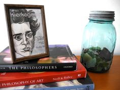 """"""" Be that self which one truly is"""" Soren Kierkegaard mini portrait print with quote. $10.00, via Etsy. She also does custom jewelry with custom portraits..so cool!"""