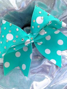 Tiffany Blue Polka Dot Cheerleading Bow with Crystal by Bowfriendz
