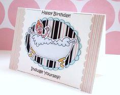 Happy Birthday Card Bathtub Girl Indulge by CraftyMushroomCards, £2.50