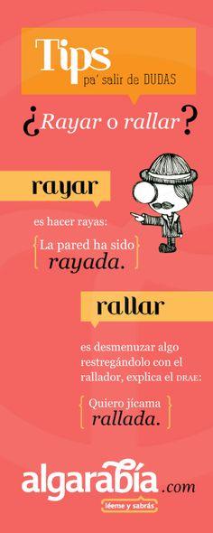 ¿Rayar o rallar? #TipDeLengua Spanish Grammar, Teaching Spanish, Spanish English, Spanish Teacher, Spanish Classroom, Spanish Language, Teaching Materials, Spanish Lesson Plans, Spanish Lessons