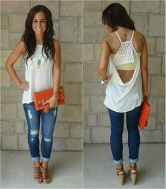 open back white tank with distressed jeans