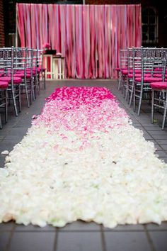 Beautiful pink ombre wedding aisle