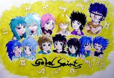 My paintings——<Saint Seiya>Hand painted. 2014.7.25晚(开始打稿)--29晚(完成),12黄金+加隆(半身私服Q版群合影.水性笔+水彩笔)。12 Gold Saints & Kanon(Q)~~~~