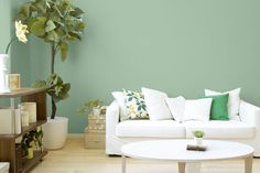 Living room with neutral decor and #DutchBoy painted green (Do-Si-Do D20-3) walls.  Hemlock green is Pantone's May 2014 Color of the Month.  http://www.northpinepainting.com
