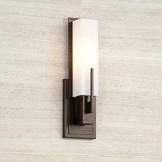 Possini Euro Midtown High White Glass Bronze Wall Sconce - Lamps Plus Open Box Outlet Site Contemporary Wall Sconces, Rustic Wall Sconces, Modern Wall Lights, Modern Wall Sconces, Candle Wall Sconces, Wall Sconce Lighting, Wall Lamps, Bronze Wall Sconce, Bronze Bathroom