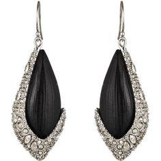 Alexis Bittar Crystal Deco Ruthenium Framed Drop Earrings