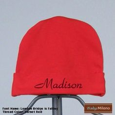 Personalized Red Baby Hat with Name by Baby Milano