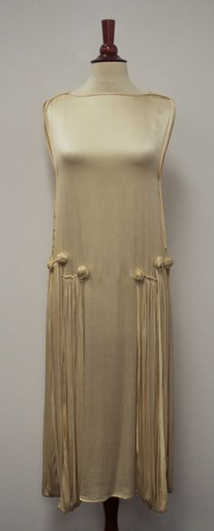 1920s Silk Wedding Flapper Dress with Drapes and Rosettes.