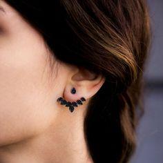 Argent noir Post Zirconian dos et boucle d'oreille, boucle d'oreille brassard Double face boucles d'oreilles argent, bijoux faits main turque