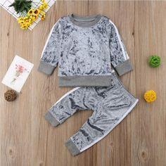 BB184_08 Velvet Tracksuit, Toddler Girl Fall, Velvet Sweater, Winter Baby Clothes, Velvet Tops, Cotton Velvet, Pink Velvet, Girl Falling, Vestidos