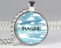 Imagine Word Necklace - Blue Sky - Dream - Imagine Quote - Custom Quote Necklace (B2018)