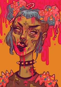 Candy Coated - Ursula Decay on deviantart. Ursula Decay, Chica Punk, Trippy Painting, Zombie Girl, Creepy Cute, Dope Art, Aesthetic Art, Art Inspo, Art Reference