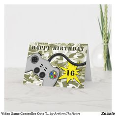 Video Game Controller Cute Teenage Birthday Card Happy Birthday 18th, Birthday Fun, Fun Video Games, Teenager Birthday, Birthday Gift Cards, Gamer Gifts, Love Games, Game Controller, Cartoon Kids