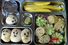 Give Peas a Chance: 2013 Bento 232-244 Take It Tuesday  Ongiri Tamago Cucumber Mango slices Wasabi leaf Soy   #planetbox #sushi #kidlunch