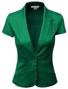 Doublju Women Short Sleeve Cotton Span Satin Fabric Blazer - comes in sooooo many colors!!!