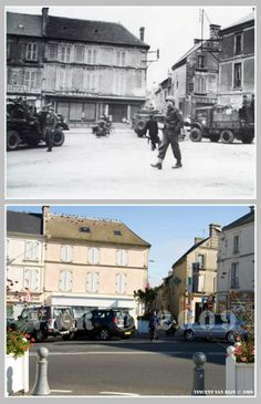 Then and now... Courseulles-sur-Mer (© Normandy WW2 Then & Now)