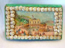 Antique Victorian Sea SHELL folk ART Pin Cushion Box, Sailors Valentine vintage