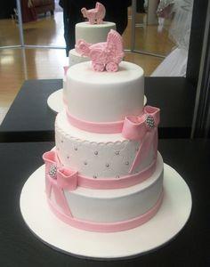 Pink & White Baby Shower Cake