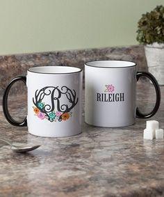 Antlers & Flowers Personalized Coffee Mug