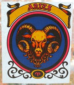 "Vintage Zodiac IRON ON TRANSFER For T-Shirts: ""Aries The Ram"" - 1970s Old Stock by MADsLucky13"