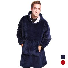 Pull Couverture - Intérieur Polaire Plaid Bleu, Blue Blanket, Hooded Blanket, Blanket Jacket, Sweater Blanket, Sweat Shirt, Keep Warm, Warm And Cozy, Red Hood