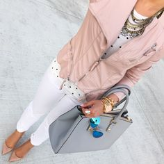 Pink faux leather moto jacket, polka dot top, white jeans, nude pumps, layered necklaces, gold watch, opal ring, mirrored aviator sunglasses // StylishPetite.com