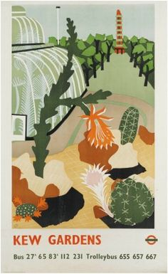 Kew Gardens (1939) Lithograph in colours. Printed by Curwen Press, London.
