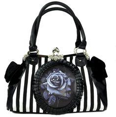 Black Rose Clutch Hand Bag Gothic Lolita Stripe Purse Black & White