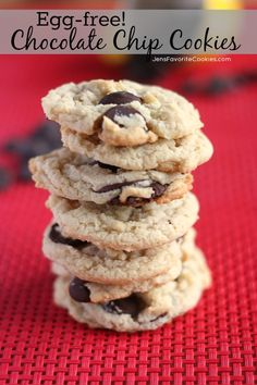 Chocolate Chip Cookies Without Eggs from JensFavoriteCookies.com You won't miss the eggs once you try them this way!
