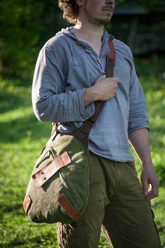 leather and canvas shoulder bag by NotlessOrequal One Shoulder Backpack, Canvas Shoulder Bag, Crossbody Shoulder Bag, Handbags For Men, Leather Handbags, Leather Pouch, Leather Men, Leather Backpack, Bushcraft