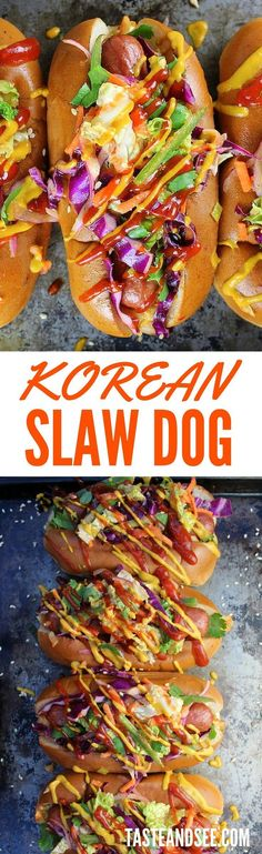 Korean Slaw Dogs: all-beef hot dogs loaded with Korean BBQ sauces ...