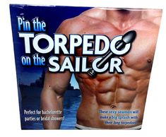 Pin the Torpedo on the Sailor Bachelorette Party Game is a fun adult twist on that childhood game of Pin the tail on the donkey, just with hunky sailor men instead.  It makes a great decoration as well as a fun game!!