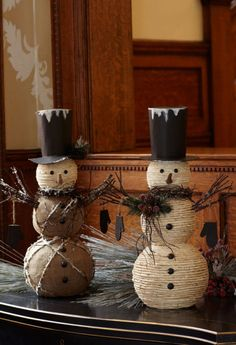 """Woven Snowmen (x2 Asst) 18""""H Polyfoam Product # 52204 Description:   A flurry of natural elements come together creating our woven snowmen! Creative design makes these fellows holiday favorites!"""
