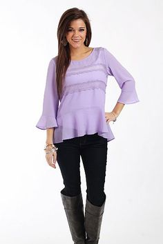 Bell Sleeve Lace Top, lavender $39.00  The color is beautiful and not to mention the lace detailing! Wear this one with skinnies for a casual look, or pair it with a skirt and wear it to the office:) However you choose to wear this one, you will look amazing!!   Fits true to size. Miranda is wearing the small.