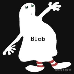 White blob figure with red stripy sox