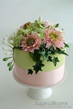 Sugar flower cake, sugar dahlias, sugar freesias, hydrangeas