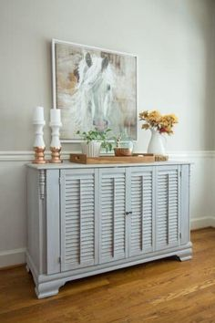 Update an old dresser by removing the drawers and adding shutters to the front. This is an inexpensive way to update your home. Furniture, Fall Home Decor, Shed Decor, Store Interiors, Dresser Makeover, Home Decor, Furniture Making, Upcycle Decor, Beautiful Dresser