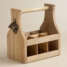 With its handcrafted look, our Wooden Bottle Caddy with Opener is perfect for entertaining with rustic style. Featuring a bottle opener affixed to the side and six slots for holding soda, or beer, this caddy will be your go-to accessory for transporting bottles to picnics or neighborhood barbeques.
