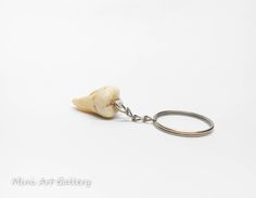 Tooth keychain / human teeth replica / realistic decayed fake tooth accessory / polymer clay charm. © Mini Art Gallery