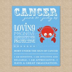 Zodiac Art Print, Cancer  - 8x10 - Archival Giclee Art Print for Nursery / Child's Room
