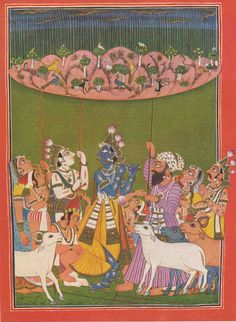 Asia Fine Books: Indian Miniature Painting - Krishna Lifting the Mountain Govardhana- 1959 reproduction. by Unknown.