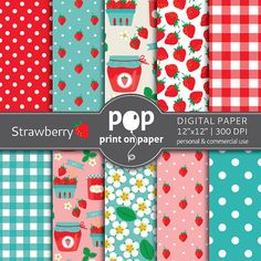 Strawberry digital paper   10 papers  12x12 by POPprintonpaper, $4.00
