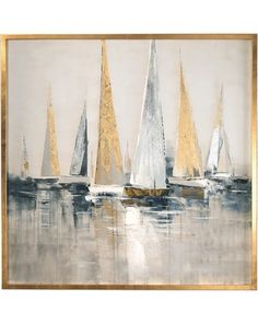 Large sailboat party oil painting, Original Sailboats gather in the harbor landscape to paint Artwork, Nautical oil painting art on Canvas - Malerei Nautical Painting, Nautical Wall Art, Sailboat Painting, Your Paintings, Beautiful Paintings, Landscape Paintings, Original Paintings, Indian Paintings, Painting Frames
