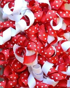 """How to Curl Grosgrain Ribbon -- by """"baking"""" it in your oven. From: http://www.nikkiinstitches.com/getting-crafty-in-the-kitchen-how-to-curl-grosgrain-ribbon/"""