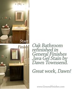 """We love this bathroom redo by Dawn Townsend using General Finishes, http://www.generalfinishes.com, Java Gel Stain. Says Dawn, """"The previous owners of our home decorated all in builders grade Oak. I LOVED using the Java Gel Stain. It saved us TONS of money by redoing our current items instead of buying new. It turned out beautifully!!! Can't wait for my next transformation project."""" Thanks Dawn! #generalfinishes #javagelstain #gelstain"""